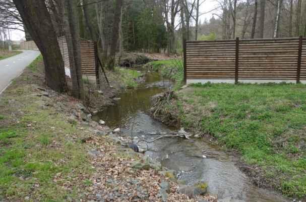 Botič vtéká do Průhonického parku. Podle vyšlapaných břehů potoka to vypadá, že tudy chodí i návštěvníci, kterým se nechce platit vstupné.