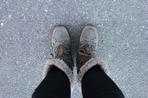 Cykloboty jsem také vyměnila za něco mnohem teplejšího. A sněhule se mi fakt osvědčily líp než zimní cyklotretry. Nohy mi tentokrát opravdu nemrzly.