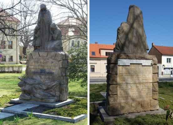 Samozřejmě nesmí tady chybět ani památník obětem 1. a 2. SV. Pomník 45 hostivickým obětem 1. SV byl odhalen 23. července 1922. Modeloval jej sochař E. Kodet a vytesal R. Ducháček. Znázorňuje padlého praporečníka, nad nímž se tyčí klečící matka s rukama sepnutými k modlitbě a stojící zarmoucená žena se třemi sirotky. Po roce 1945 přibyla na pomníku jména obětí 2. světové války.