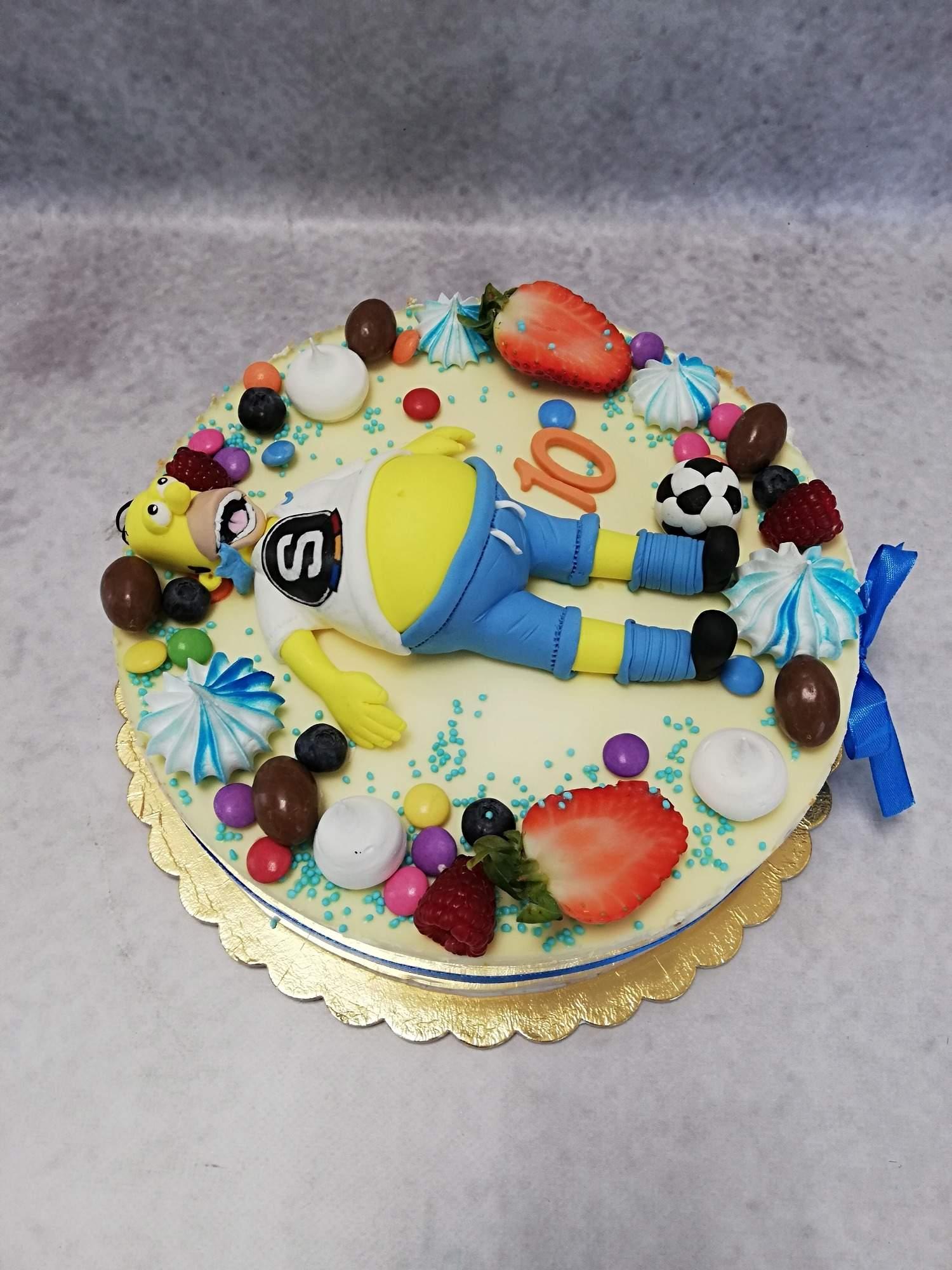 Klasický dortík s oblíbenou postavičkou .Váha dortu 2.5kg +postavička Houmer 400kč