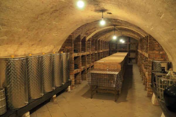 Majitelé nás pozvali i do sklepa k ochutnávce vína - pili jsme bílé z nerezových tanků vlevo - bylo výborné, i když my jsme spíš na červené...