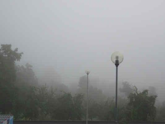 dnes je čtvrtek a ranní pohled z balkonu, je mlha