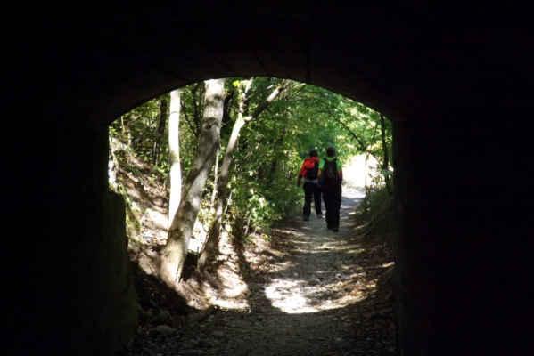 Tunel Na Kobyle - Tunel sloužil k dopravě vytěženého vápence z kráteru lomu k železniční drážce, po které se dopravoval dál na zpracování.