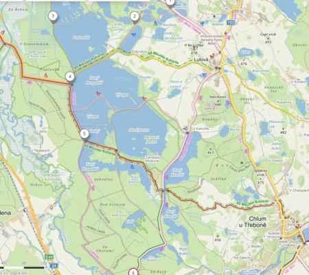 Takže teďka pokračujeme tudy ... od rybníka Podsedek na Kosky, což je součást obce Hamr.